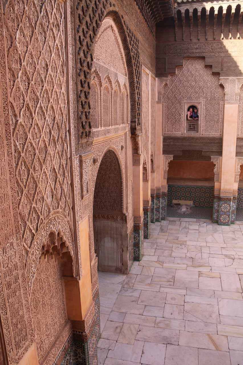 Looking at the intricate details of the walls surrounding the courtyard at Ben Youssef
