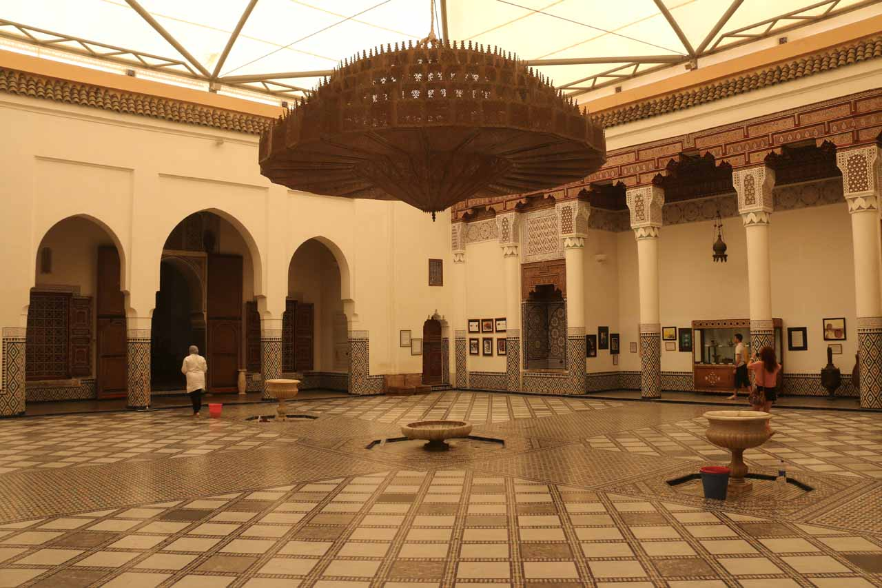 Most visitors do the Cascades d'Ouzoud as a long day tour from Marrakech - a city whose medina contains elaborate palaces like the Palais de Mnebhi shown here could be appreciated