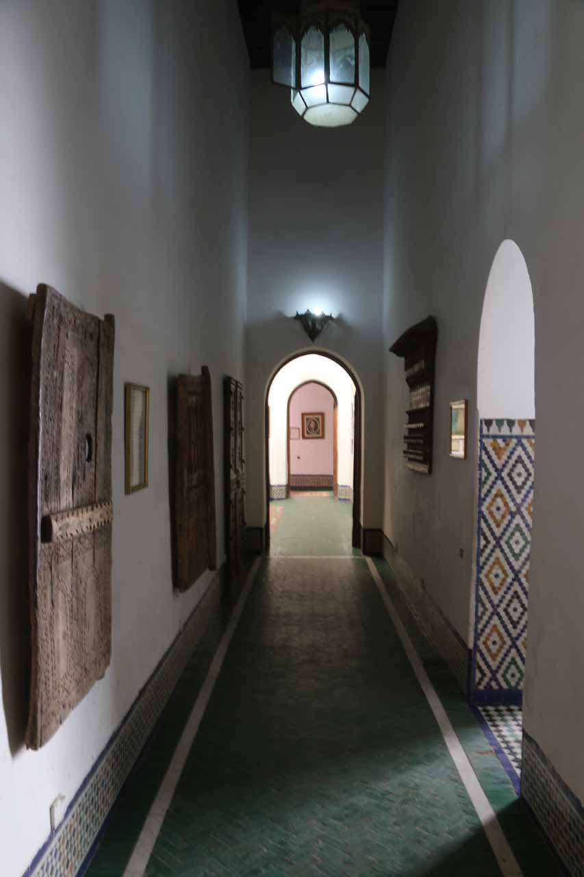 Looking at the different styles of doors on the left near the entrance of the Palais Mnebhi