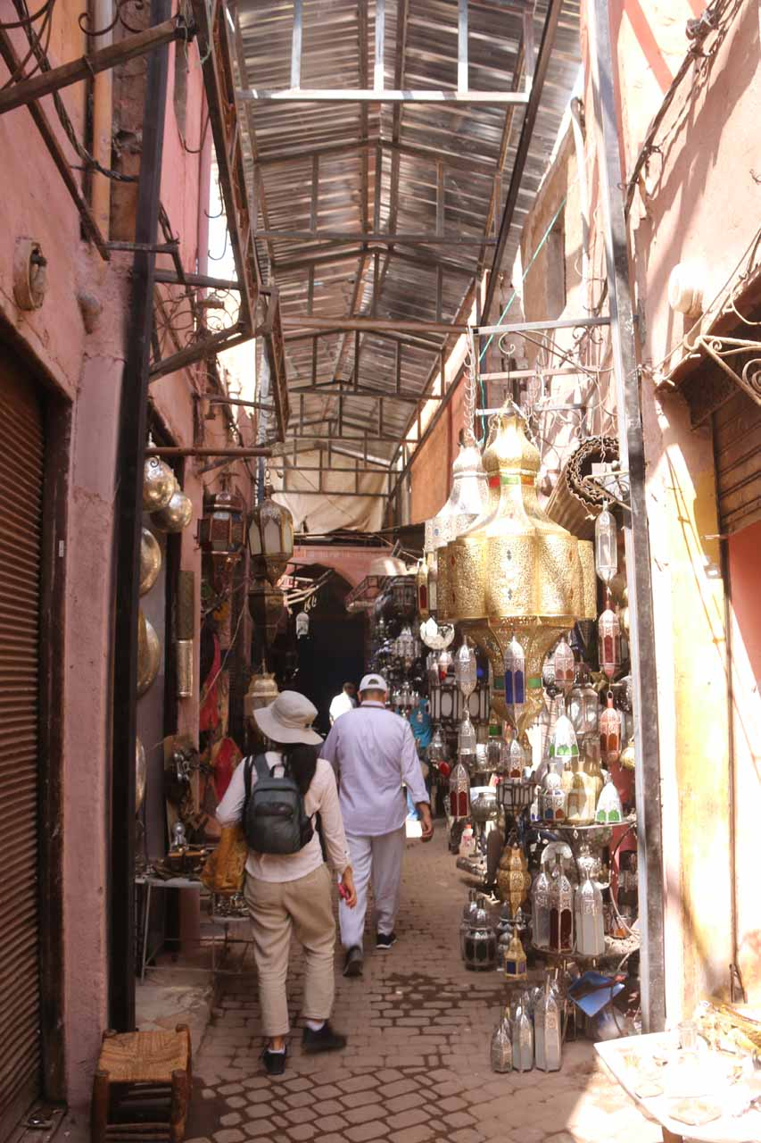 Passing through some metallurgic shops in the non-touristy souks of the Marrakech medina