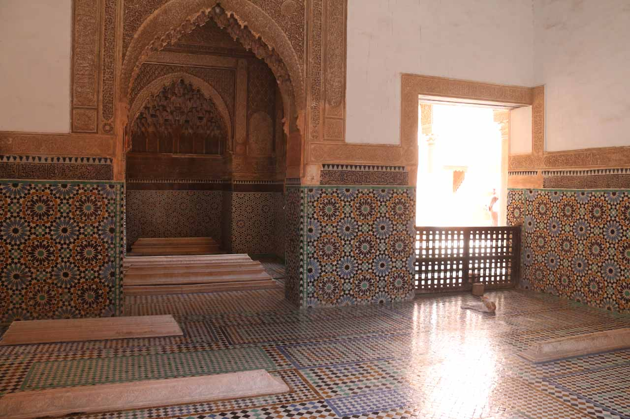 The interior of one of the Saadian Tombs