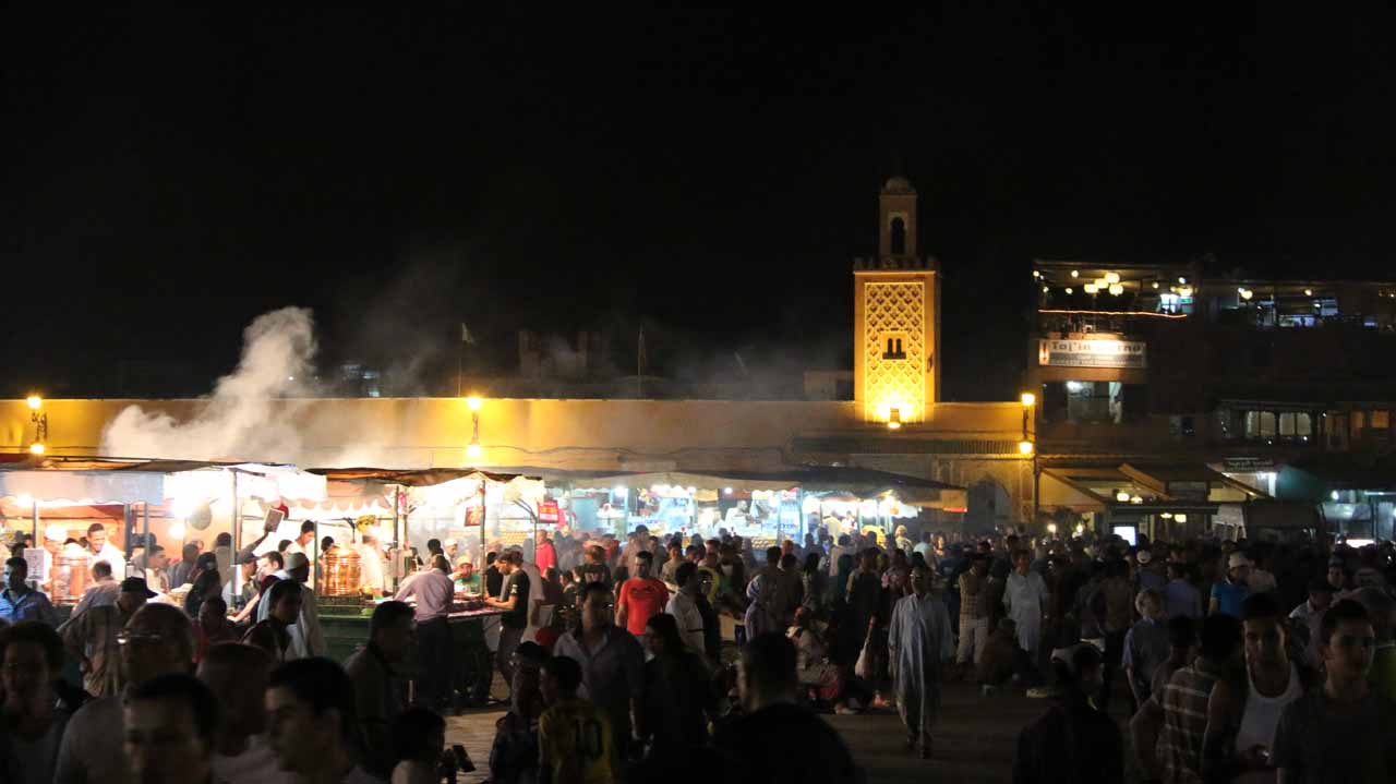 Back at the bustling Djemaa el-Fna