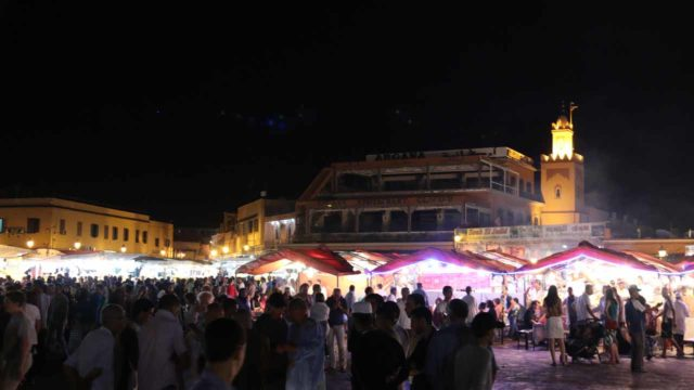 Marrakech_440_05162015 - The main draw of visitors to the city of Marrakech must be the atmospheric square of the Djemaa el-Fna, which seemed to be picking up in energy the later into the evening it became