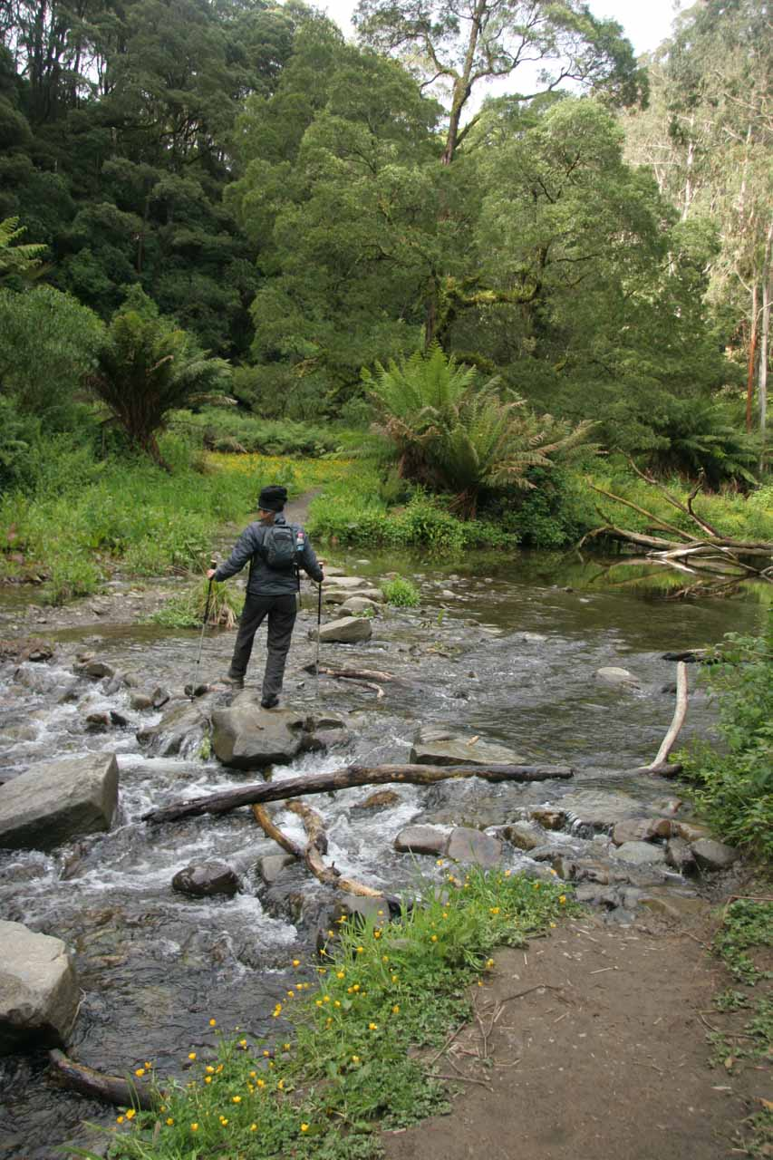 Julie on a stream crossing making use of the trekking poles to keep her balance