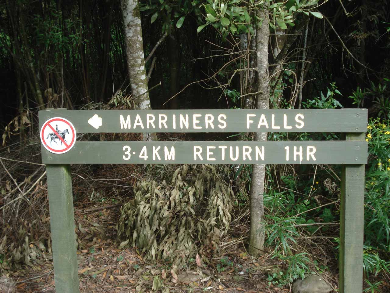 Sign at the trailhead for Marriners Falls telling us what we were in for