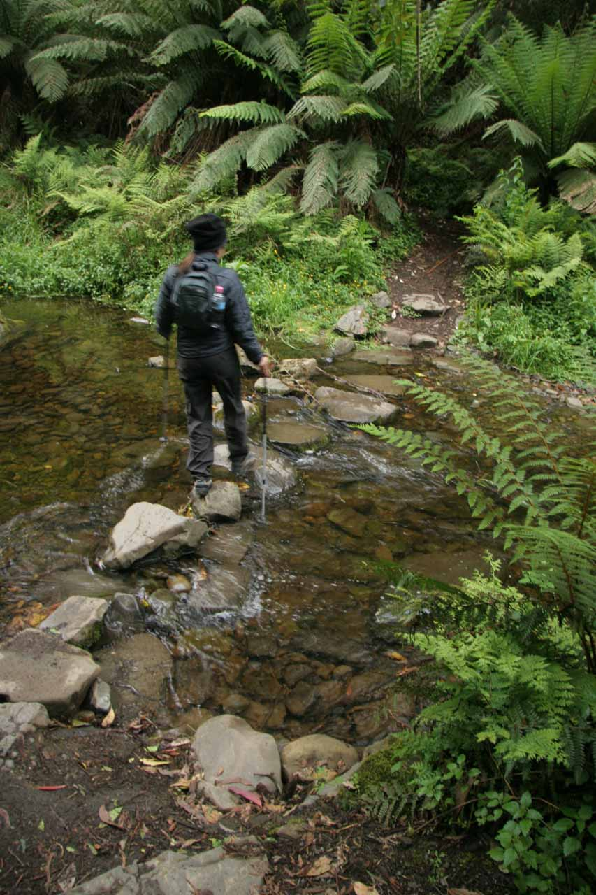 Julie on another stream crossing