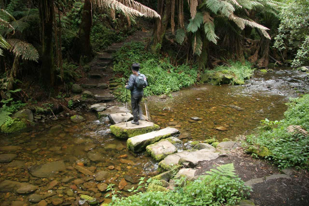 Julie on one of the easier stream crossings