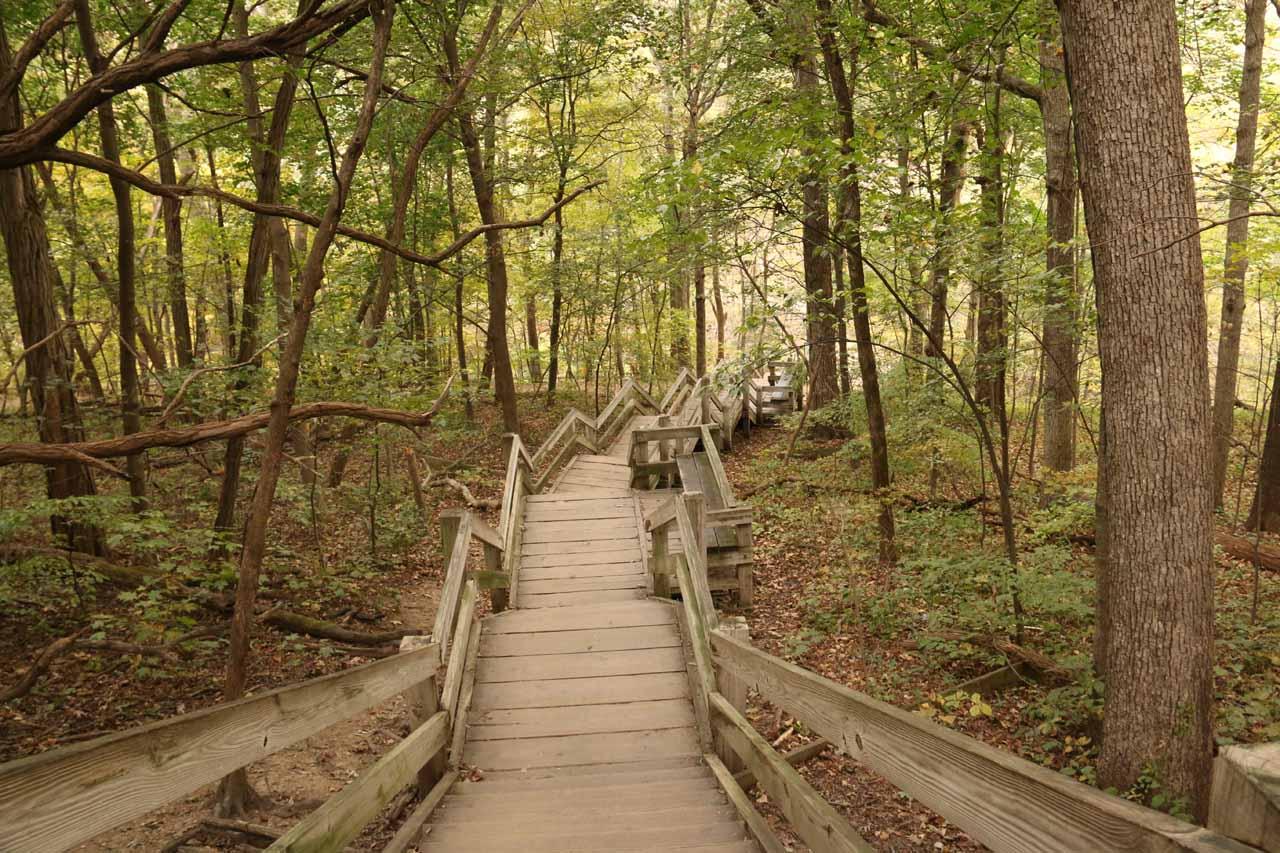Descending steps to Cascade Falls