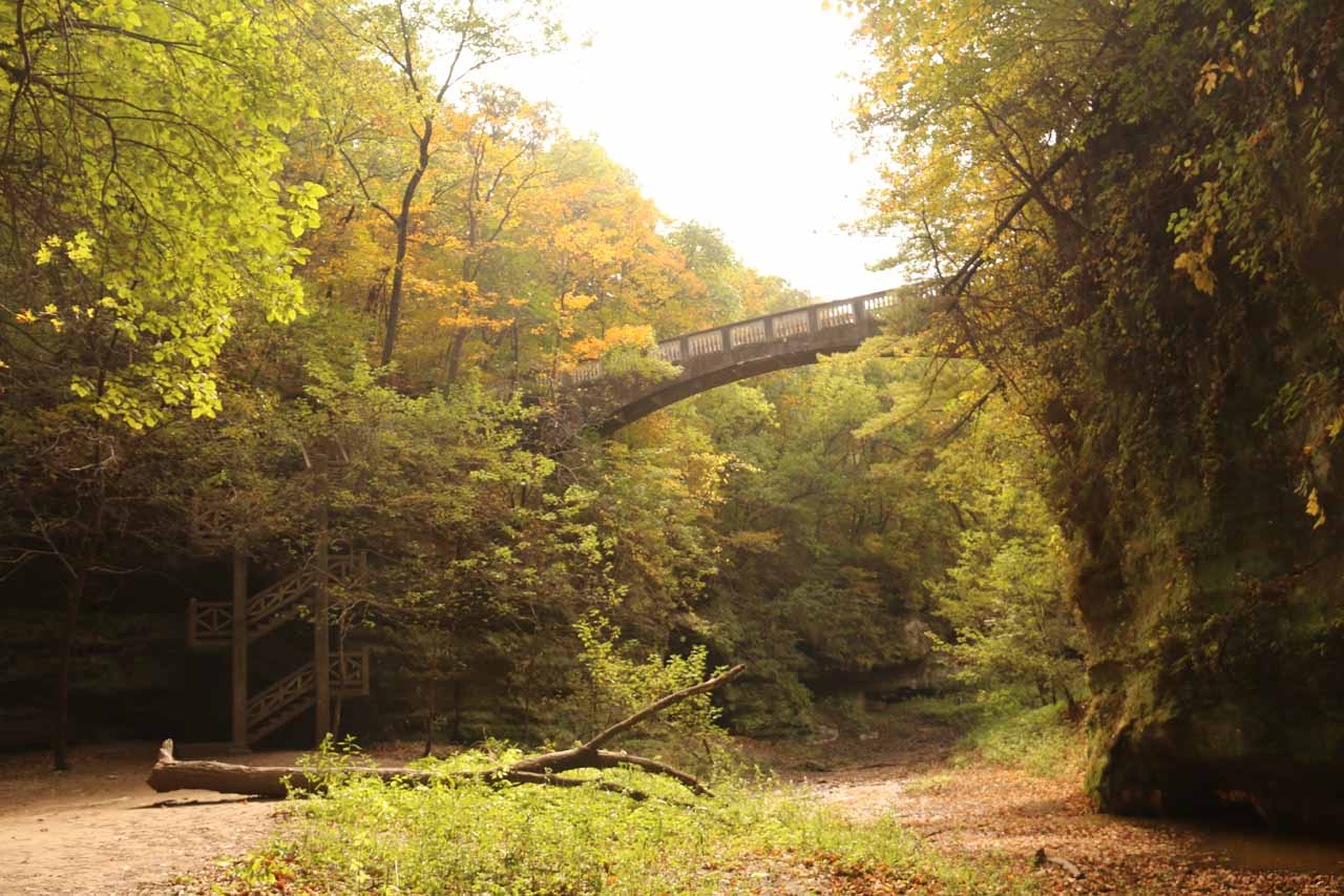 Looking back towards the bridge spanning the Lower Dells as well as the spiral steps taking me down to the bottom