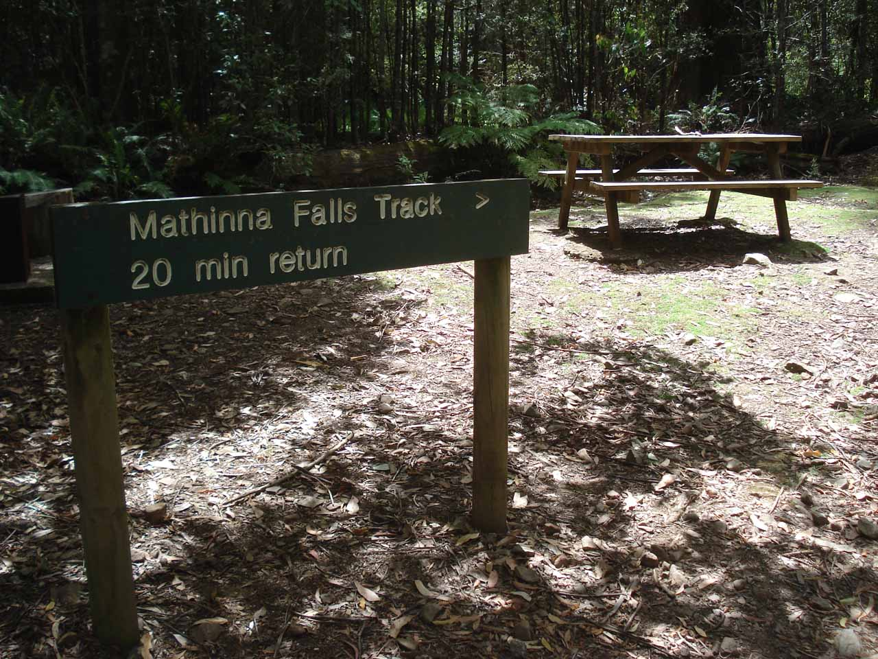 Although the literature said Mathinna Falls was 30 minutes return, this sign said it was only 20 minutes return