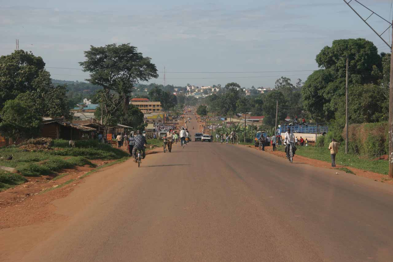 Passing through the busy town of Mbale