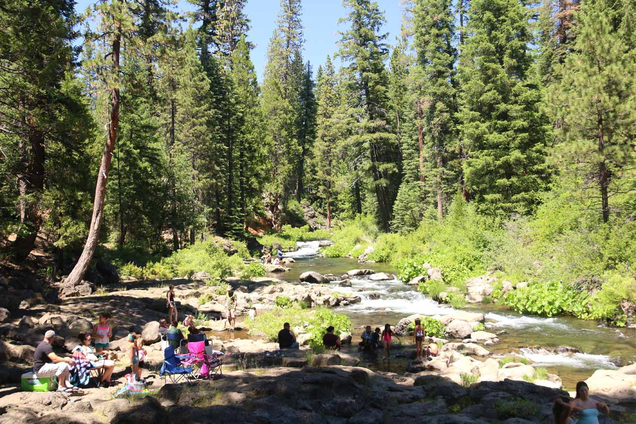 Further upstream from Lower McCloud Falls, there were additional spots where children could play near the water while others brought lawn chairs and ice coolers to relax and have a good time