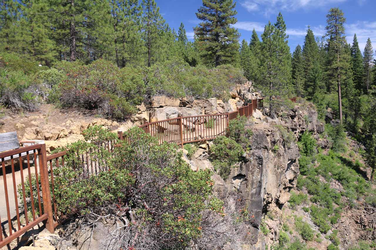 The trail continued alongside these railings beyond the overlook of the Middle McCloud Falls
