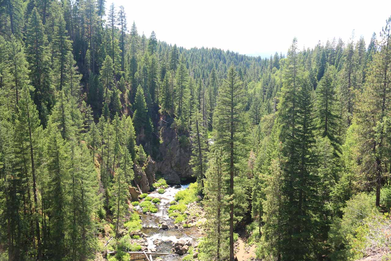 Looking downstream from the overlooks around the Middle McCloud Falls