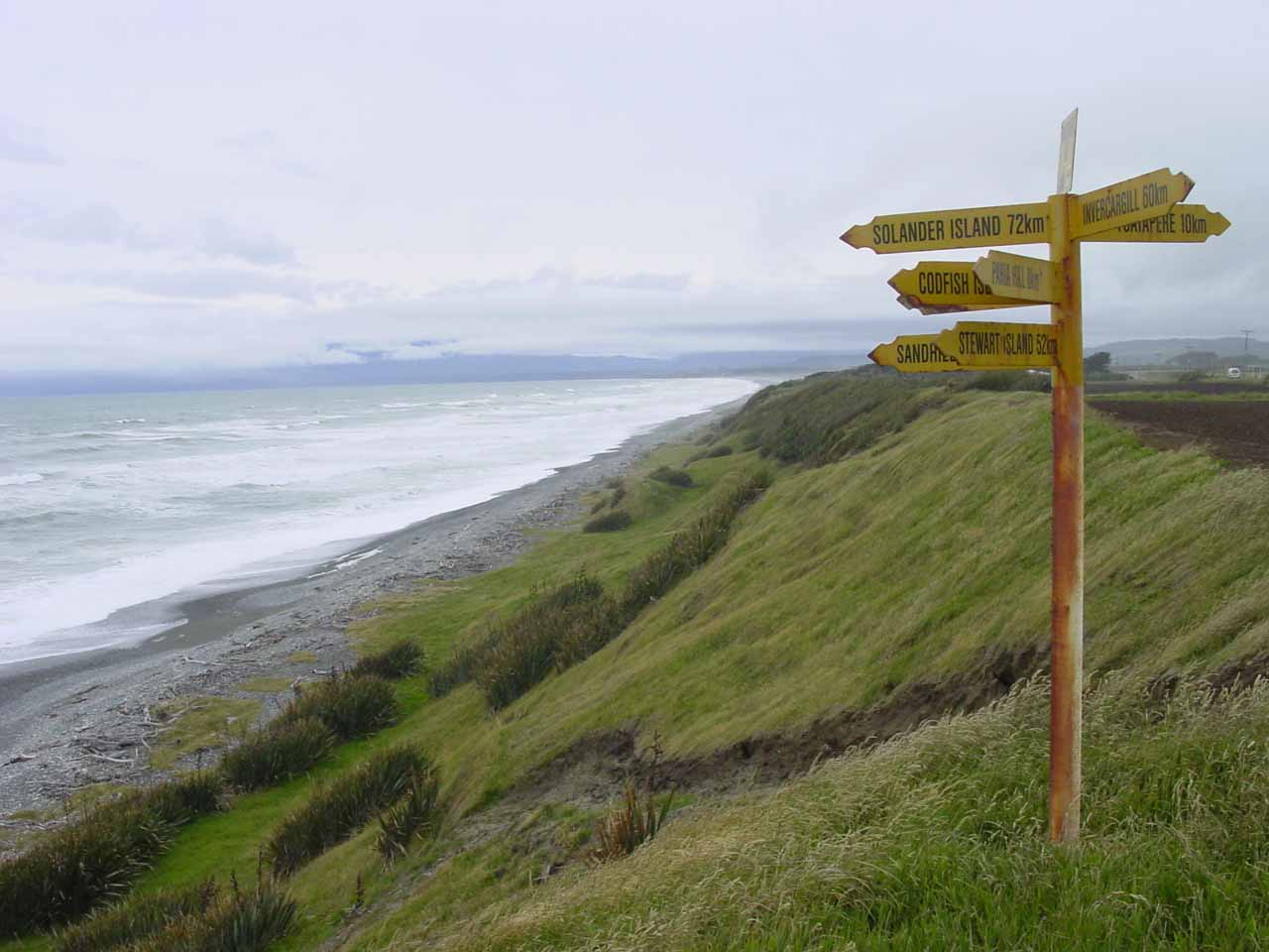 To the west of Invercargill was McCracken's Rest where we got this interesting view of the Southern Ocean and a sign pointing to interesting sites
