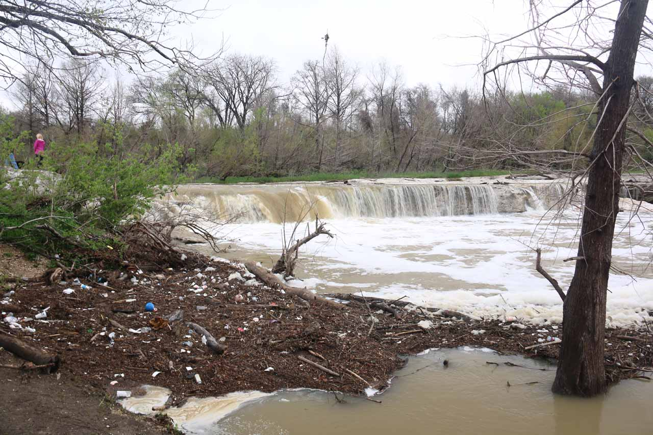 One of the main reasons why it wasn't wise to swim in the water during our visit was this field of litter that accumulated by the plunge pool of the Lower McKinney Falls. The water was also foaming and brown, which indicated to us that the water could very well have been polluted from all the storm runoff