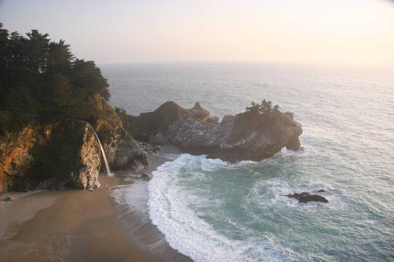 Another look at the impossibly beautiful cove containing McWay Falls near sunset