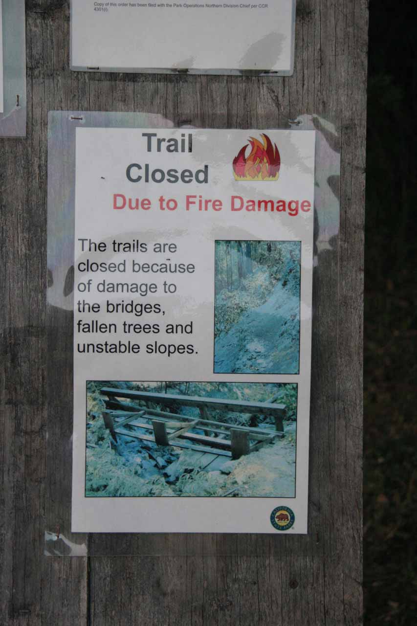 Closure sign for Canyon Falls