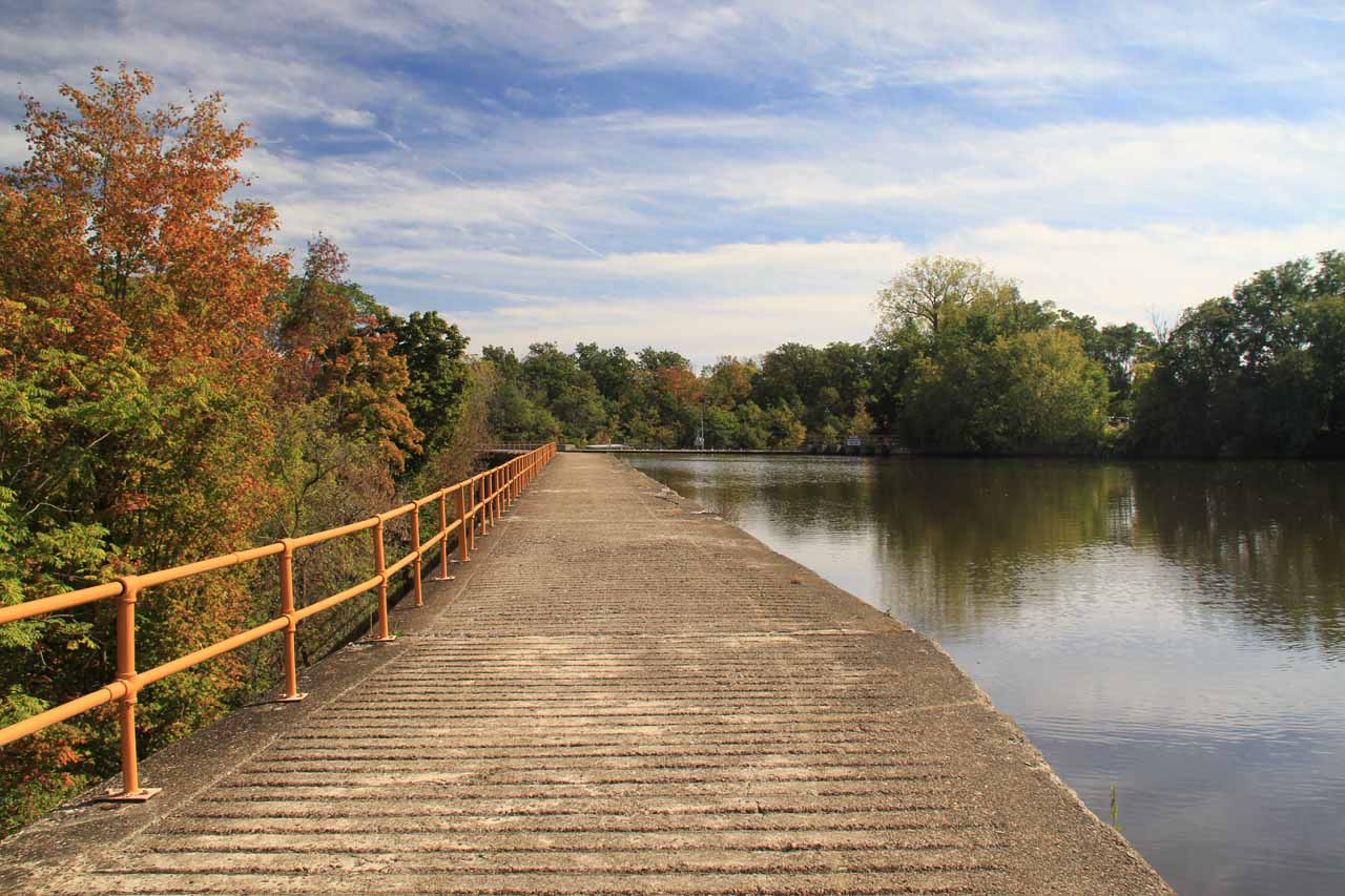The concrete walkway alongside the Erie Canal