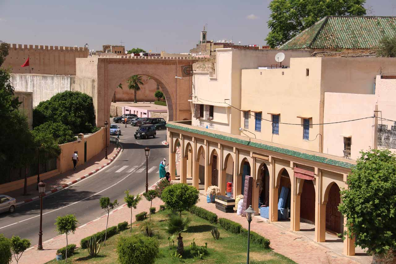 Looking towards one of the arched gateways from our restaurant in Meknes