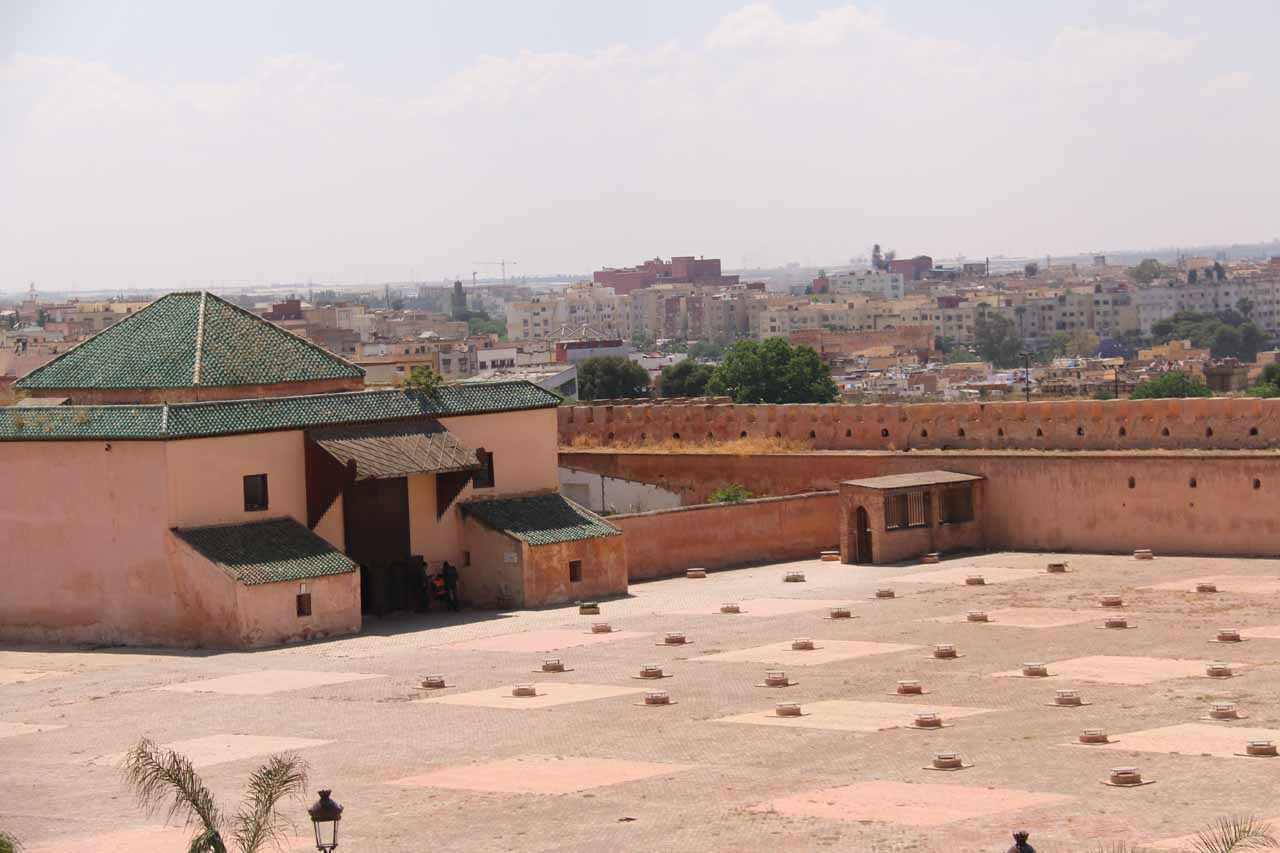 Looking down at the Christian prison from the restaurant's terrace in Meknes
