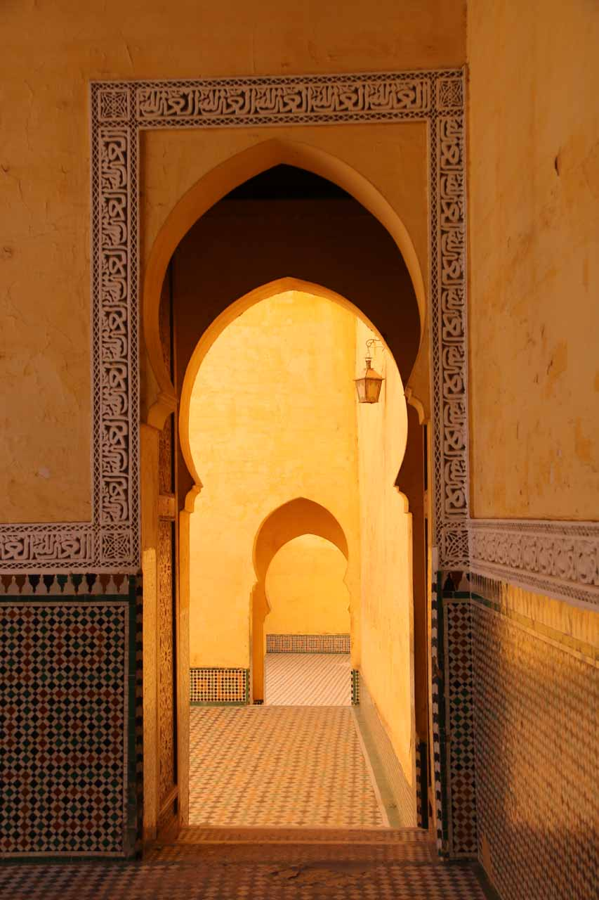 Incident lighting and attractive arches in succession at the Mausoleum of Moulay Idriss in Meknes
