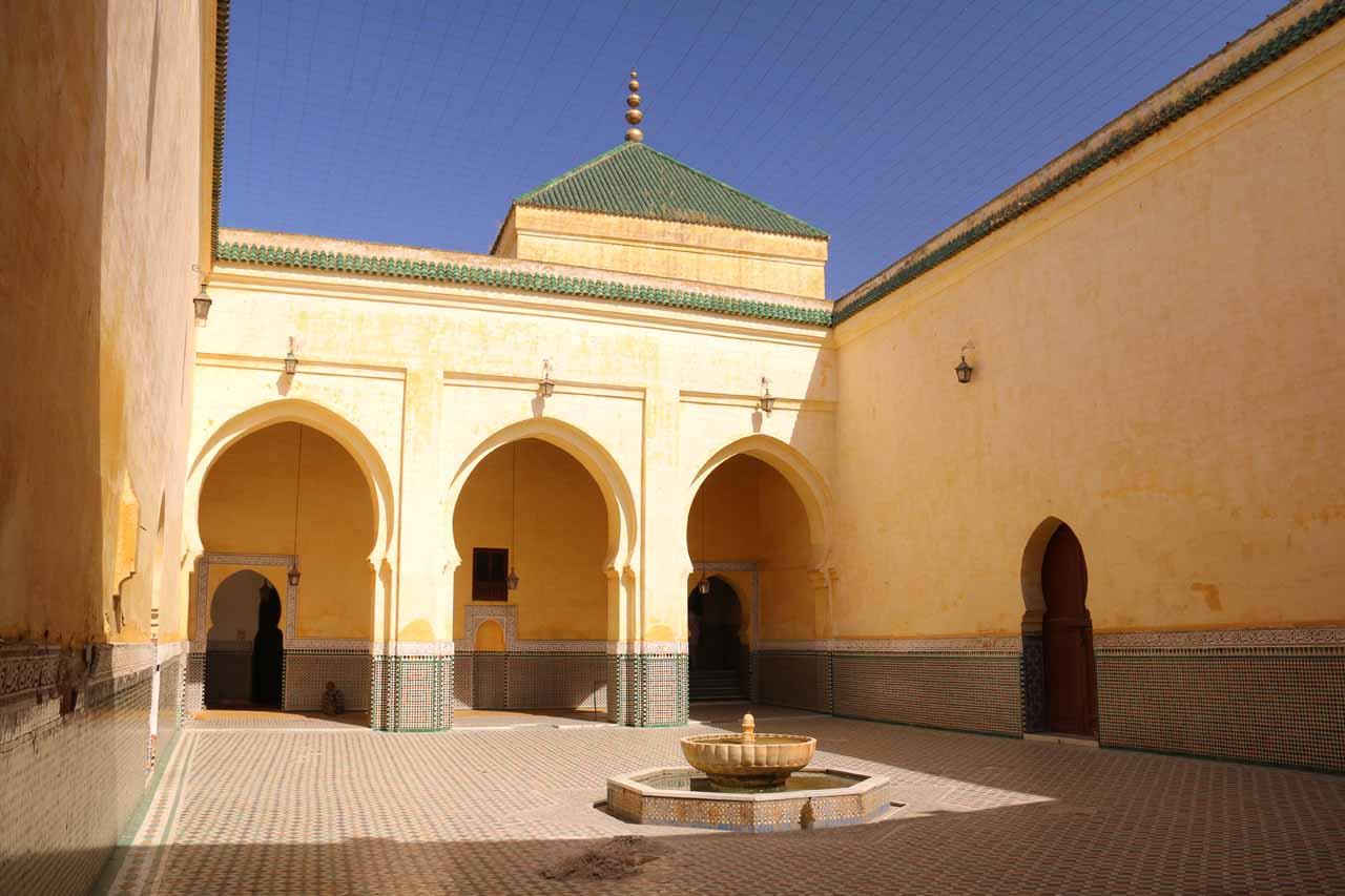 The courtyard fronting the actual resting place of Moulay Idriss