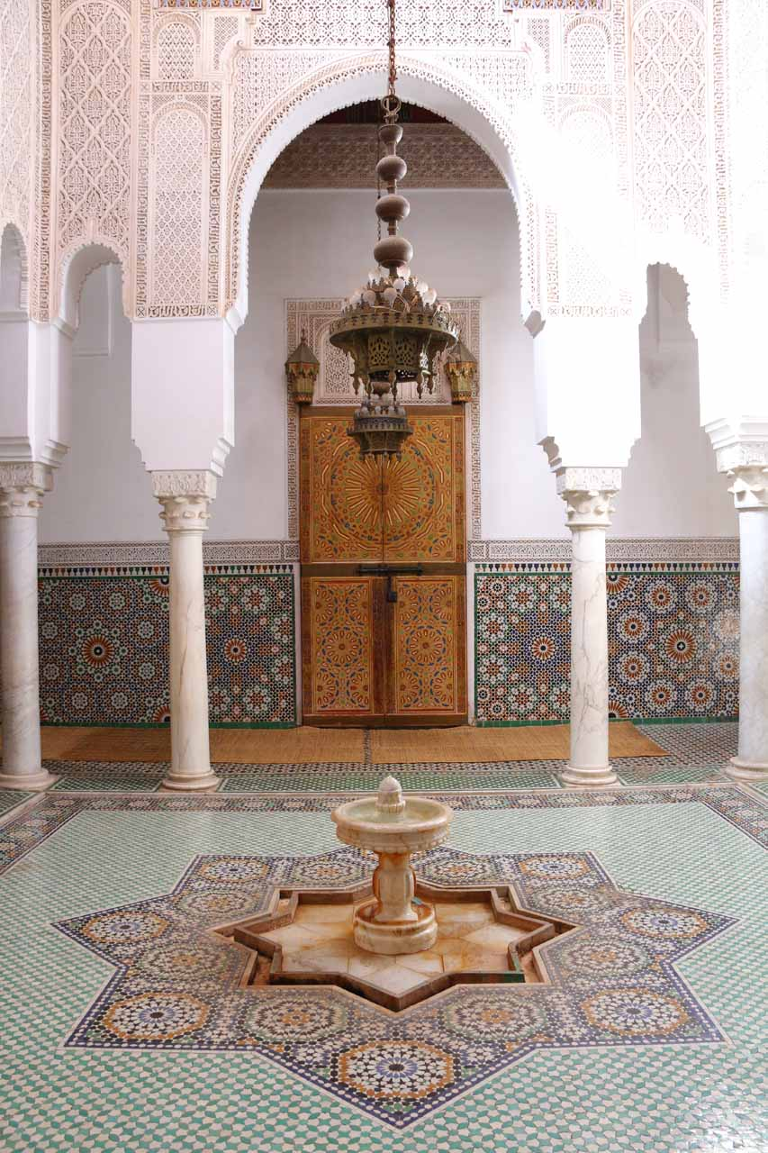 About an hour's drive west of Fes was the city of Meknes, which itself featured its share of attractions such as the Mausoleum of Moulay Idriss and its elaborate interior shown here