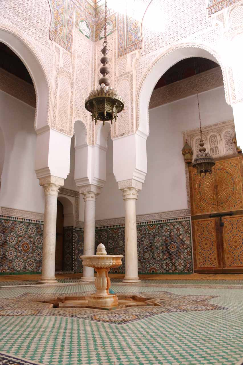An attractive fountain and tall atrium besides the tomb of Moulay Idriss in Meknes