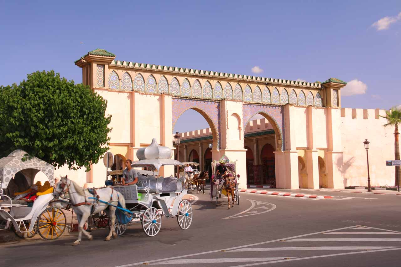 Checking out the Cinderella-like carriages as we were about to be taken to other parts of Meknes