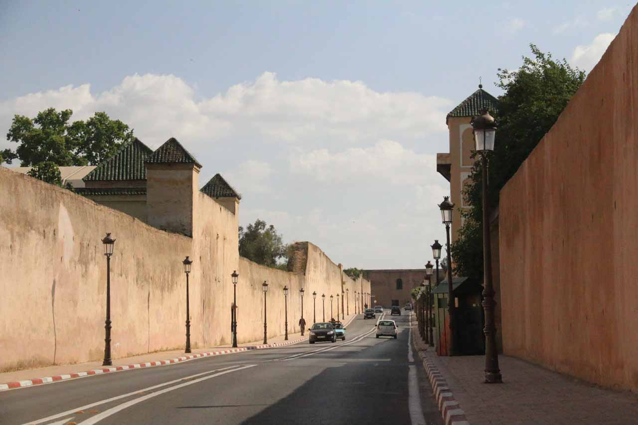 The city walls as well as palace walls flanking the road we took as we headed to Dar el-Ma and Heri es-Souani in Meknes