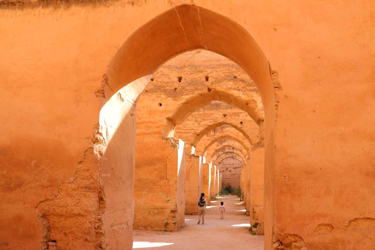 The atmospheric rows of arches in the outdoor part of Dar el-Ma and Heri es-Souani