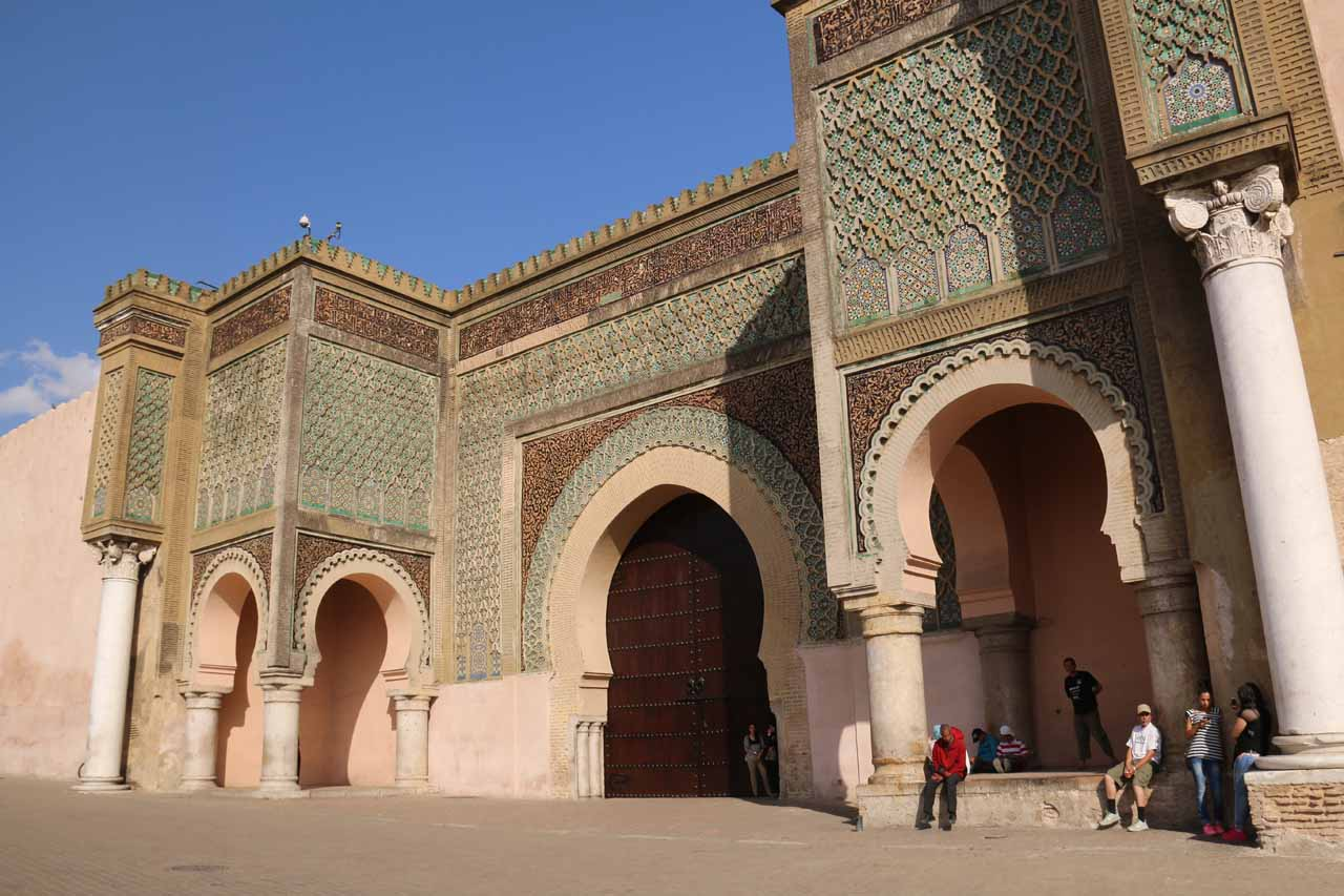 The impressive Bab Mansour gate in Meknes