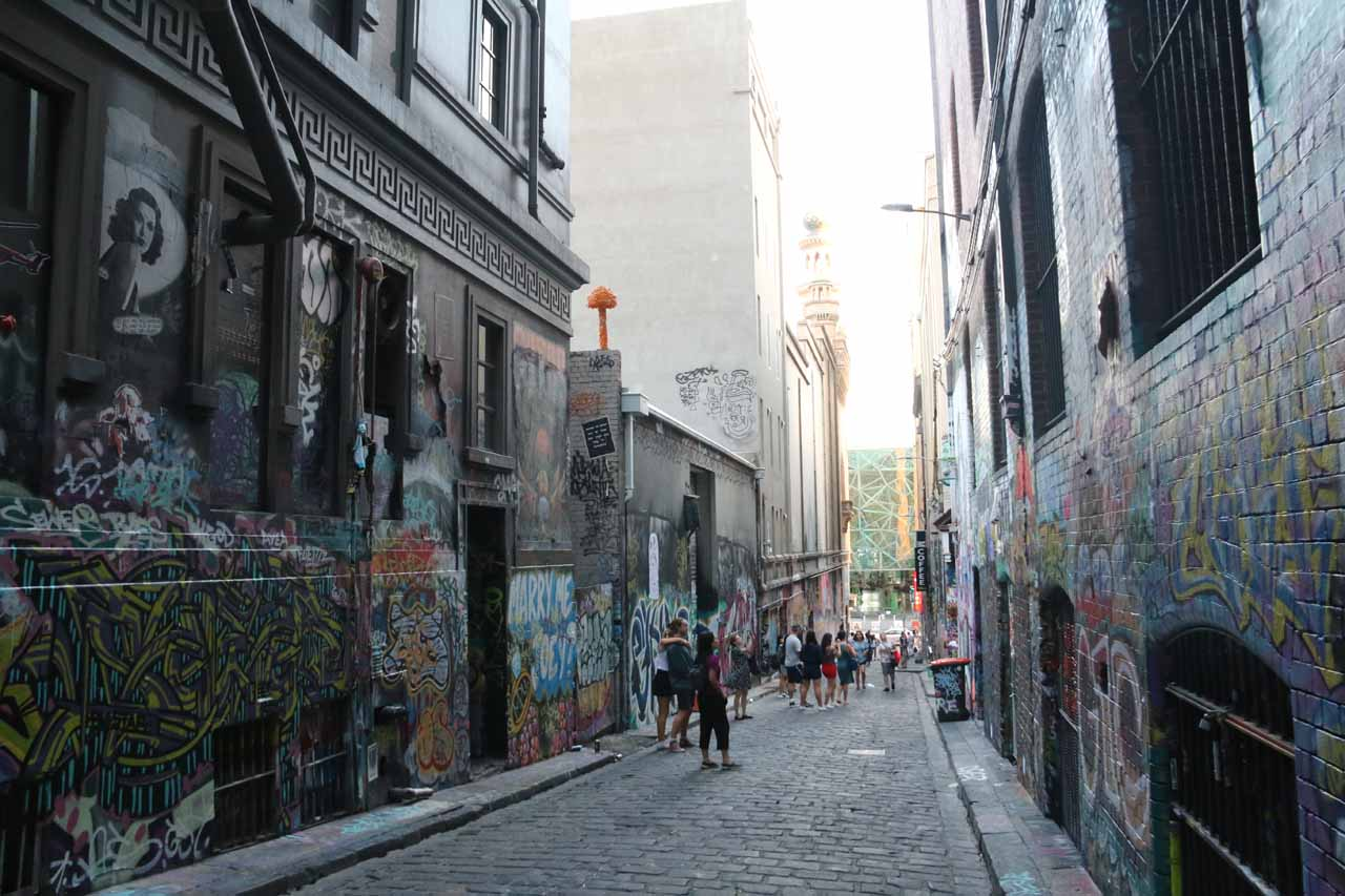 Speaking of art, who would've thought that street graffiti would become 'urban street art' within the Melbourne CBD like in this alleyway on Hoosier Lane