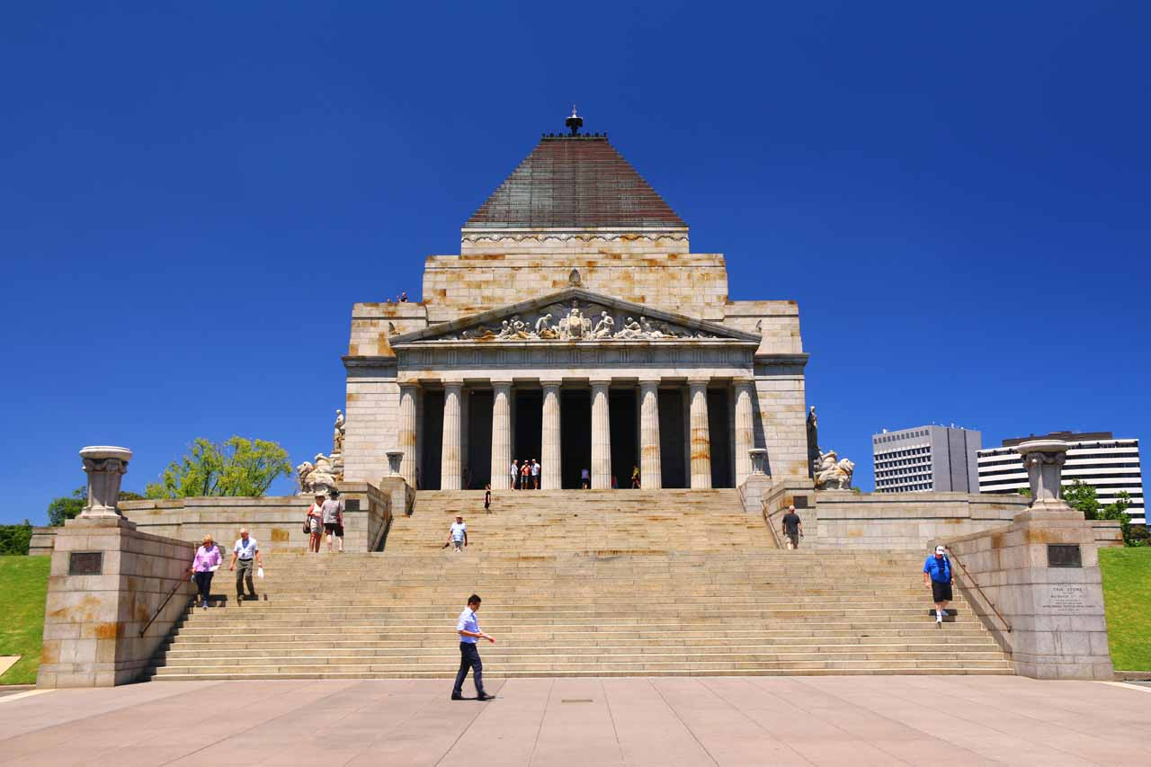 At the conclusion of our drive along the Great Ocean Road (taking in waterfalls like Erskine Falls), we then spent some time sightseeing Melbourne. Shown here is the Shrine of Remembrance