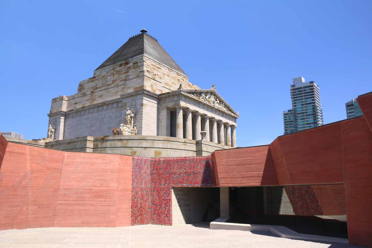 Melbourne was about 2.5 hours drive to the west of Agnes Falls. Here's a look at the Shrine of Remembrance, which was also a good place to get an elevated view of the skyline of the Melbourne CBD