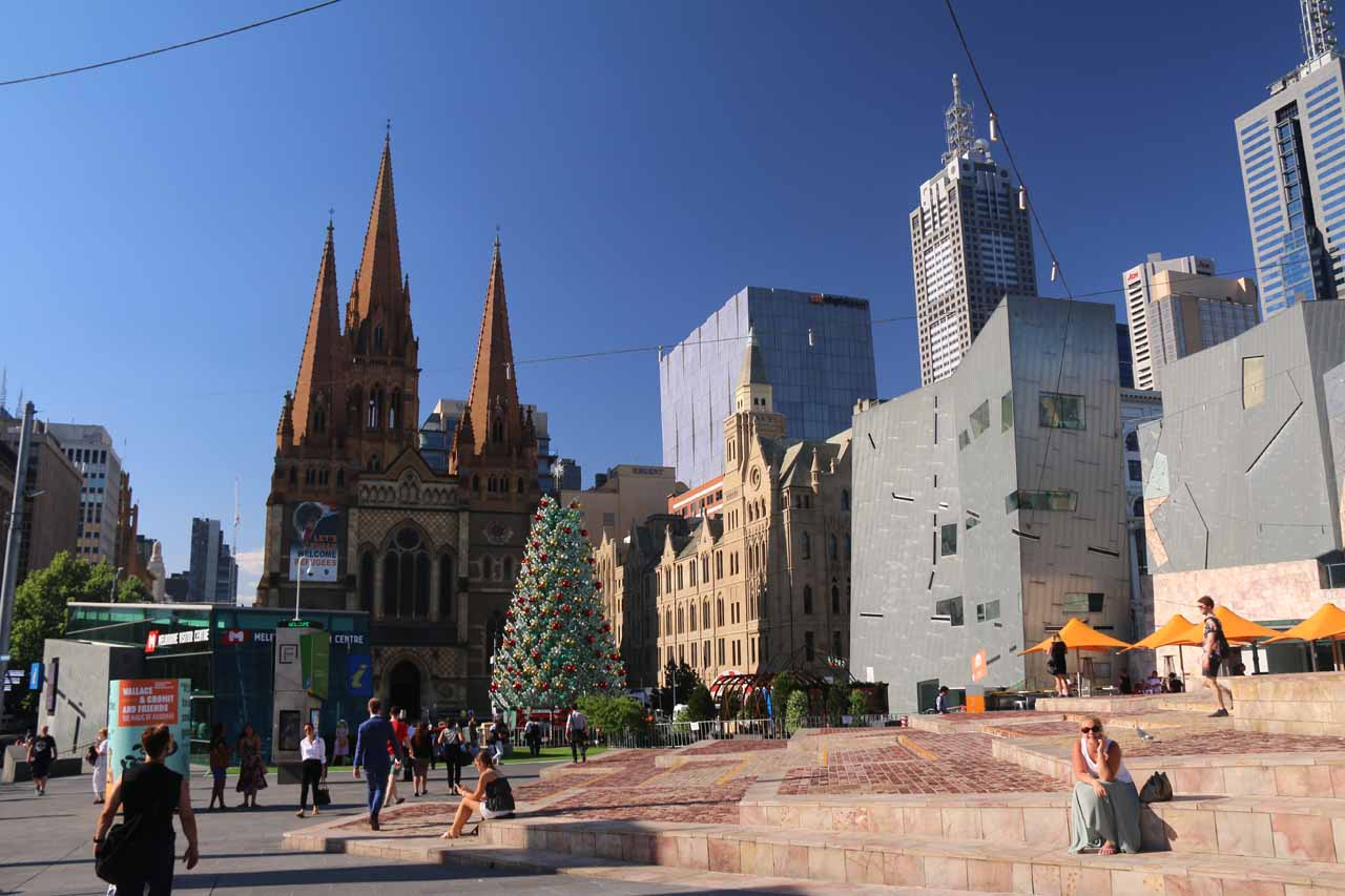 The Melbourne CBD was bustling with energy from festivals, events, and the day-to-day activities from both locals and tourists alike. Shown here is Federation Square looking towards St Pauls Cathedral