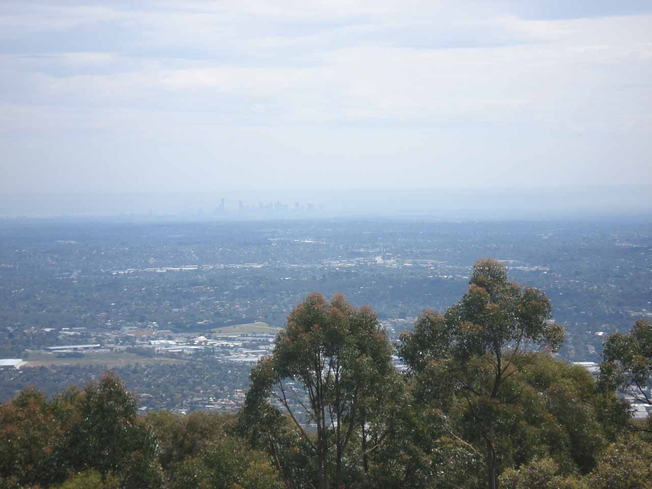 On the northeastern outskirts of the city of Melbourne, my cousins took us up to Mt Dandenong, which afforded us this distant view back towards the Melbourne CBD