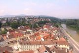 Melk_251_07062018 - Looking along the Danube Channel and part of the Melk Stadtmitte from the Stift Melk