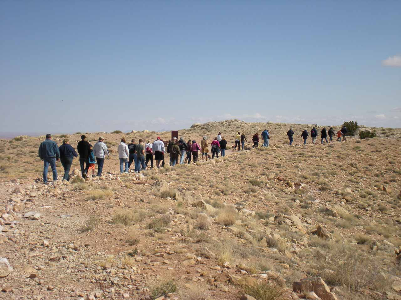 Line of people on the hiking tour