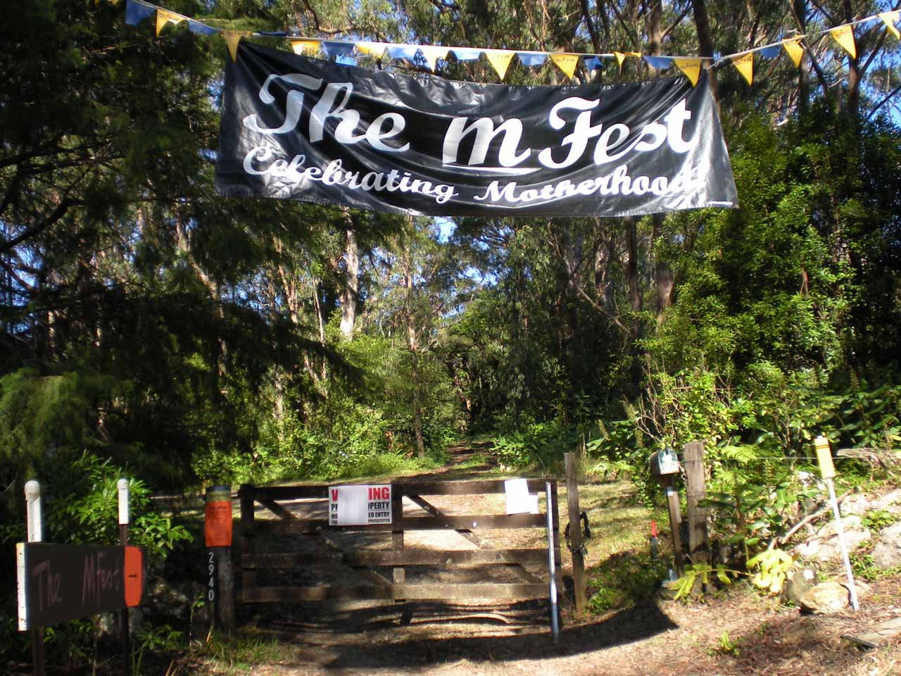 The M Fest - Celebrating Motherhood sign
