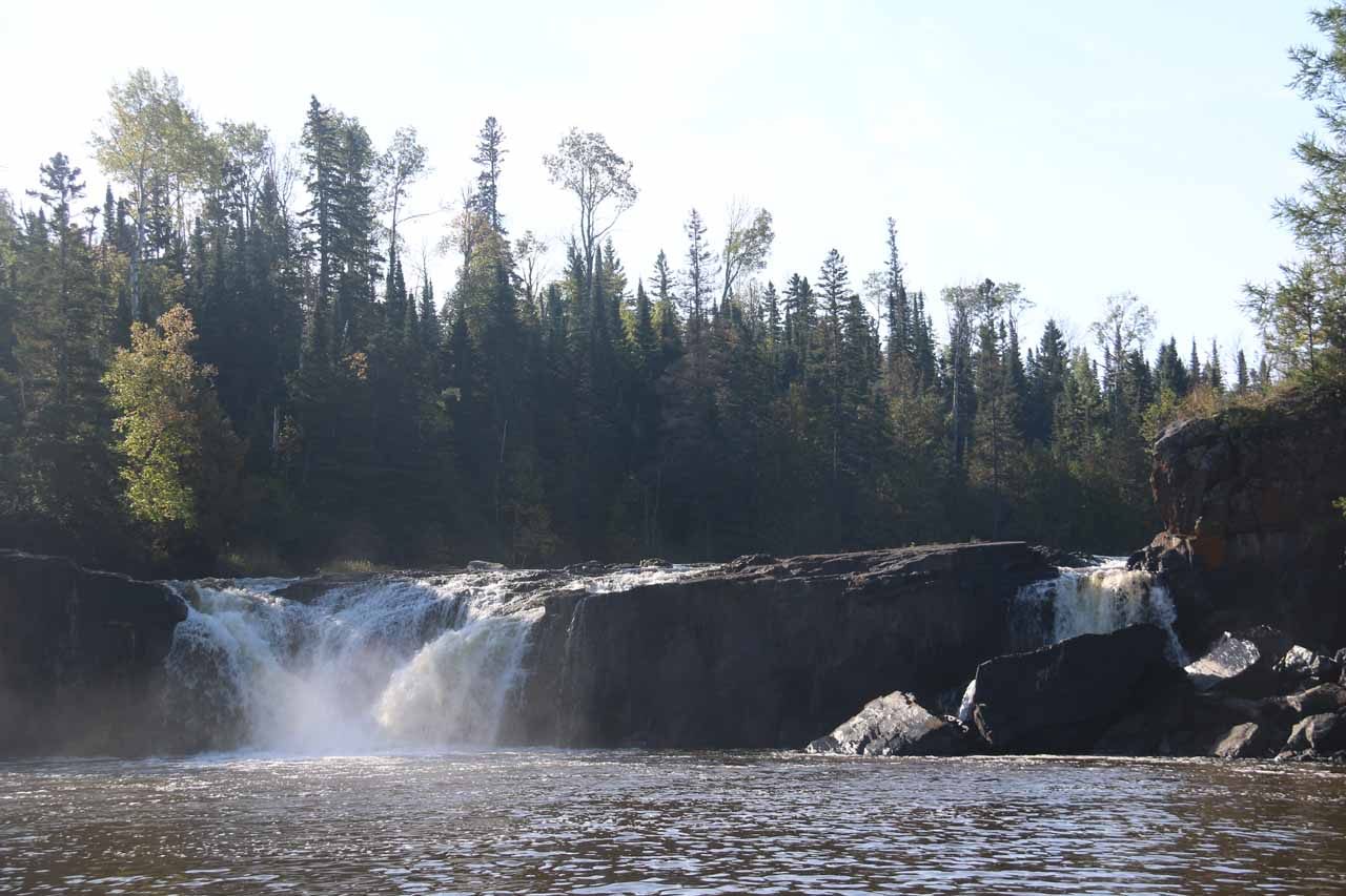Further upstream of the High Falls of the Pigeon River was the 20-ft but much wider Middle Falls of the Pigeon River, shown here, which was more accessible from the Canadian side