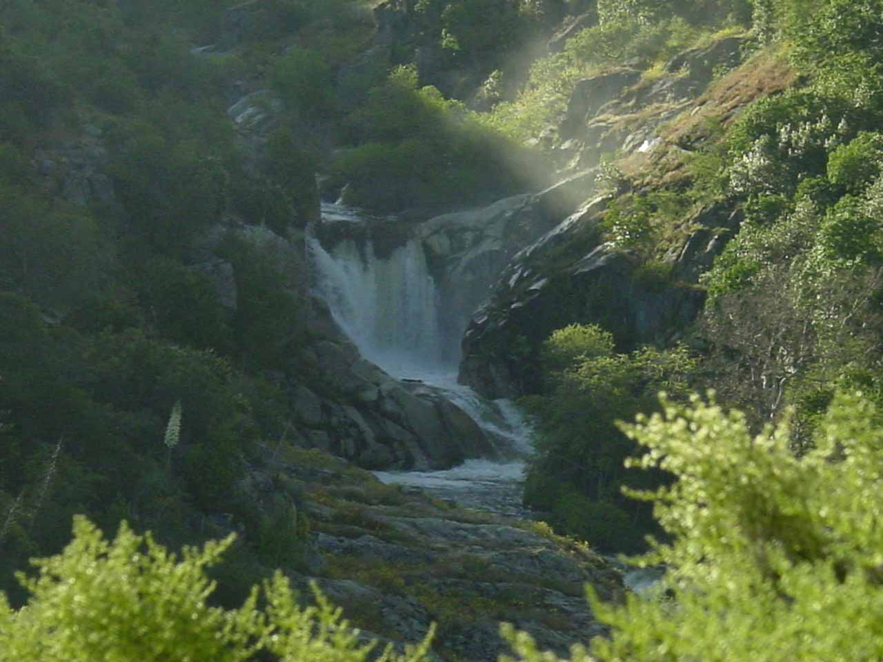 Distant look against the sun from Hwy 190 of Middle Fork Tule River Falls