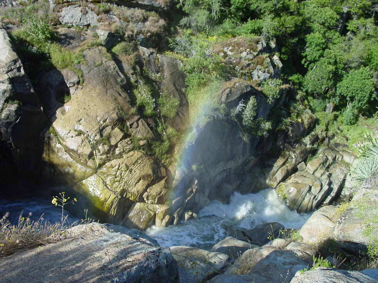 Looking downstream where a rainbow showed up in the Middle Fork Tule River Falls' mist