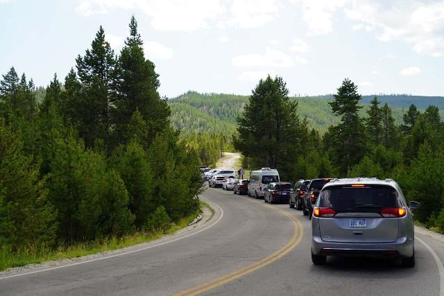 Midway_Geyser_Basin_005_08032020 - The parking situation at the Midway Geyser Basin's main lot was pretty intense, and we wound up parking a little further and walking a little more to save ourselves the trouble of being caught in this traffic jam