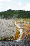 Midway_Geyser_Basin_037_08032020 - Portrait view of the thermal runoff at the Midway Geyser Basin showing some people up above on the boardwalk for a senes of scale
