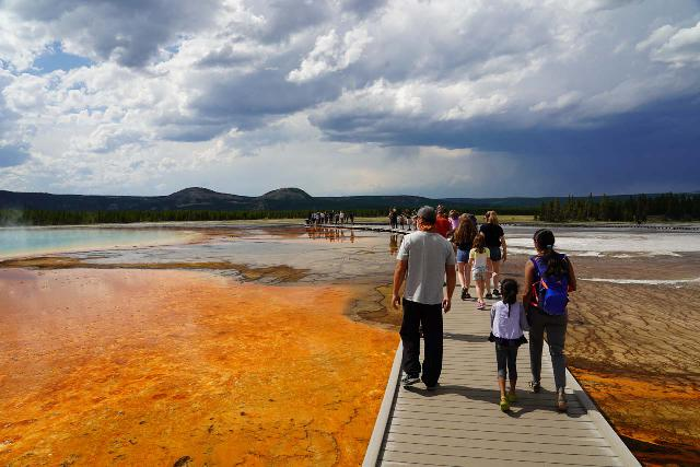Midway_Geyser_Basin_102_08032020 - Many people on the Midway Geyser Basin boardwalk skirting by the Grand Prismatic Spring