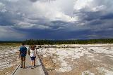 Midway_Geyser_Basin_133_08032020 - Starting to head back from the Grand Prismatic Spring as the thunderclouds continued to look dark and menacing (and producing lightning) in the distance on our visit in August 2020