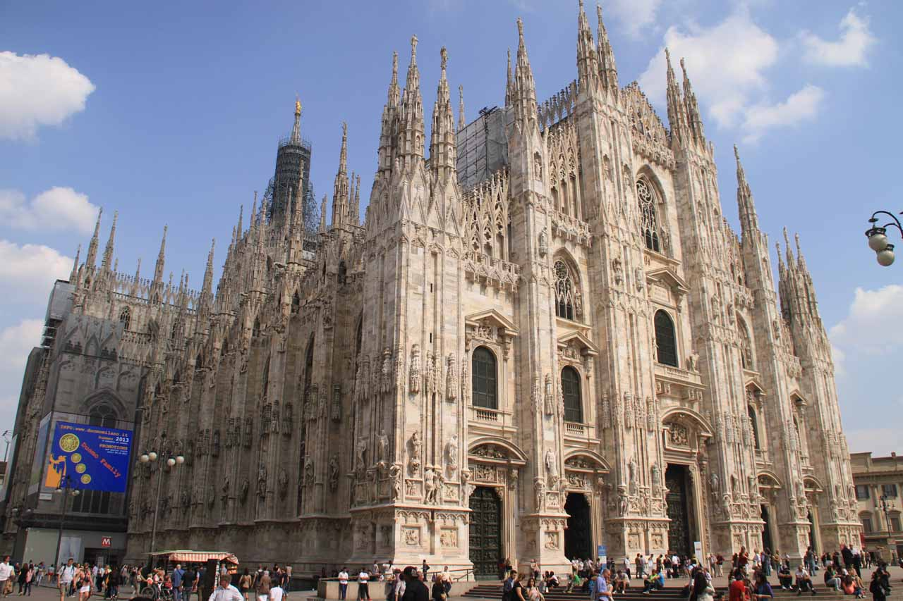 An angled look at the Duomo in Milano