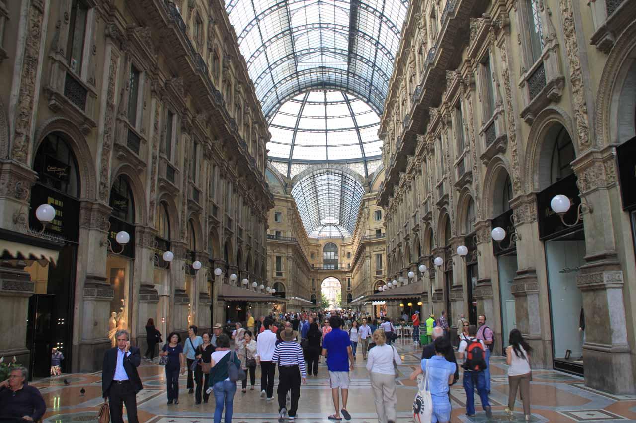 Inside the fancy galleria in Milan